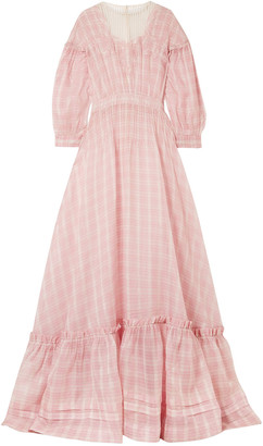Calvin Klein Tulle And Lace-trimmed Checked Silk-organza Gown