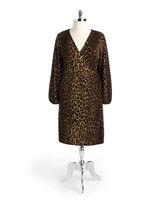 Jones New York Signature Plus-Size Leopard Print Faux Wrap Dress