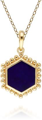 Gemondo Lapis Lazuli Flat Slice Hex Pendant