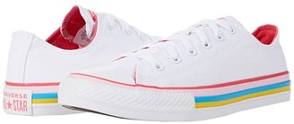 Converse Chuck Taylor(r) All Star(r) Striped - Ox (Little Kid/Big Kid) (White/Carmine Pink) Girl's Shoes