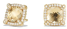 David Yurman Chatelaine Pave Bezel Stud Earrings with Champagne Citrine and Diamonds in 18K Gold