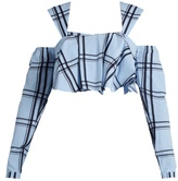 House of Holland Ruffled checked-cotton cropped top