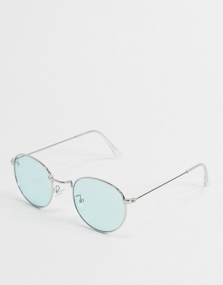 Jeepers Peepers round sunglasses in silver with blue lens