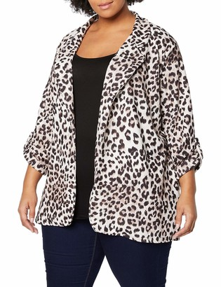 New Look Curves Women's Leopard Scuba Suit Jacket