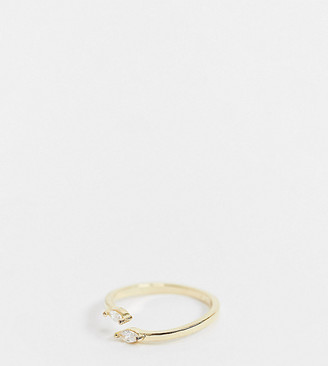 Shashi Ciara adjustable diamante ring in gold plated sterling silver