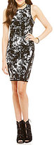 GUESS Sleeveless Zip-Front Printed Jacquard Sweater Dress