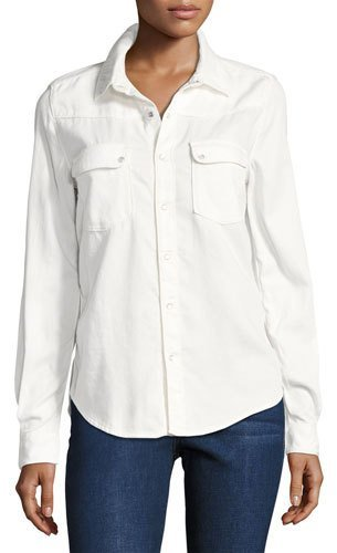 BA&SH Bridget Button-Down Cotton Shirt, White