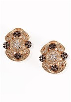 Effy Jewelry Effy Espresso 14K Yellow Gold Cognac and White Diamond Earrings, 1.13 TCW