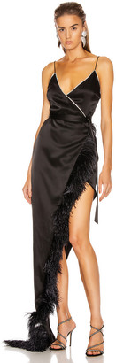 David Koma Crystal & Feather Asymmetric Wrap Gown in Black | FWRD