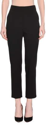 Giorgio Armani High-Waist Straight-Leg Stretch-Wool Pants w/ Slit Cuff