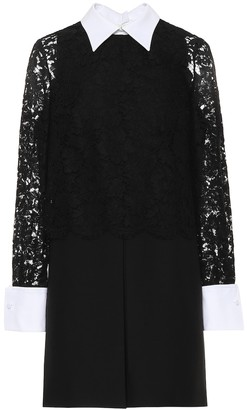 Valentino Lace-sleeved wool and silk dress