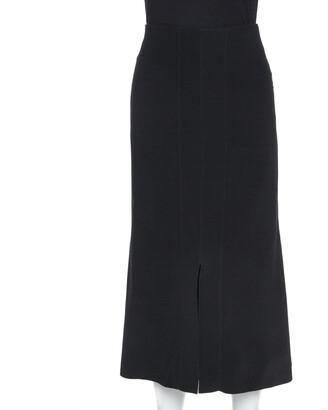 Roland Mouret Black Crepe Slit Detail Skirt XL