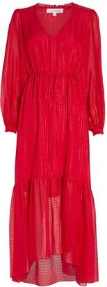 Intermix Gianna Striped Silk Midi Dress