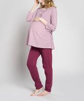 Maroon Check Maternity Pajama Set