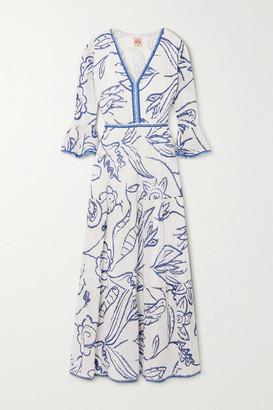 Le Sirenuse Positano - Bella Tiered Printed Cotton-voile Maxi Dress - Blue