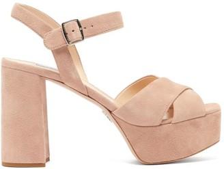 Prada Suede Platform Sandals - Womens - Nude