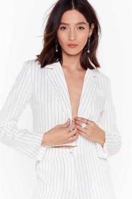Nasty Gal Womens Hollaback Girl Pinstripe Cropped Blazer - White - L, White