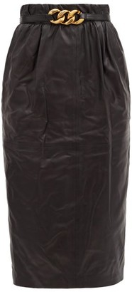 No.21 No. 21 - Chain-belt Leather Pencil Skirt - Black