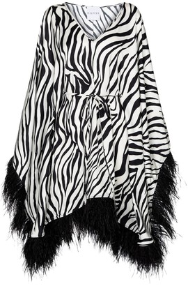 Halpern Feather-trimmed printed minidress