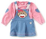Baby Starters Baby Girls 3-12 Months Sock Monkey Long-Sleeve Shirt & Denim Dress Set
