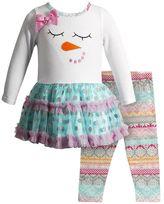 Youngland Girls 4-6x Snowman Tulle Dress & Fairisle Leggings Set