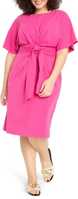 ELOQUII Tie front Flutter Sleeve Midi Sheath Dress