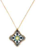 Miguel Ases Women's Beaded Geometric Square Pendant Necklace