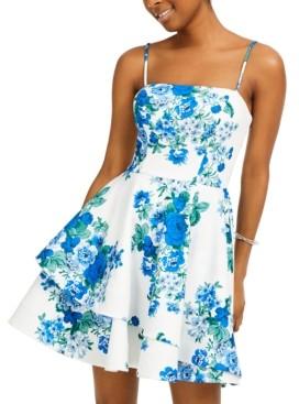 B. Darlin Juniors' Floral-Print Scuba Crepe Dress