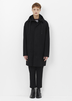 Lanvin black dropped shoulder felt duffle coat
