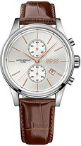 HUGO BOSS Jet Silver / Brown Leather Analog Quartz Chronograph Men's Watch 1513280