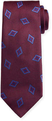 Canali Men's Tossed Medallions Silk Tie, Burgundy