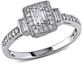 10K White Gold 0.31ctw Baguette and Round White Diamond Engagement Ring