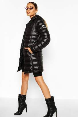 boohoo Hooded High Shine Padded Jacket