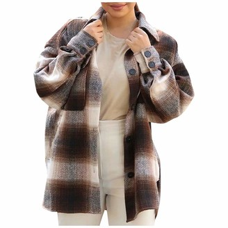 Moent Women Clothes Moent Women Long Sleeve Button Turn-Down Collar Shirt Thin Plaid Coat with Pockets Ladies Casual Plus Size Plain Shirt Tops for Spring Autumn Winter (L