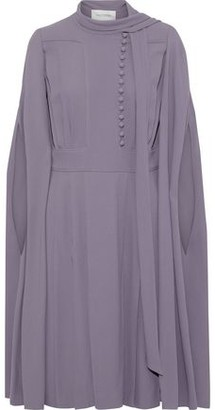 Valentino Cape-back Button-detailed Crepe Dress