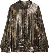 Suno Metallic floral-print silk-blend shirt