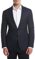 Ralph Lauren Glen Plaid Two-Button Sport Coat, Navy/Bright Blue