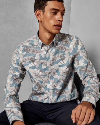 Ted Baker RAMSEYS Leaf print cotton shirt