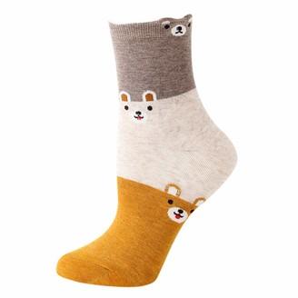 Kalorywee Socks 1 Pair Women Cotton Socks Dog Animal Character Print Women's Winter Socks