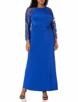 Marina Women's Long Jersey Gown with Shirred Neckline and Lace Sleeve
