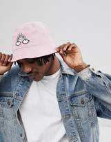 Asos DESIGN Reversible Bucket Hat In Pink Cord With Rainbow Embroidery