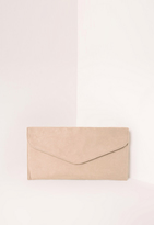 Missguided Faux Suede Envelope Clutch Bag Nude