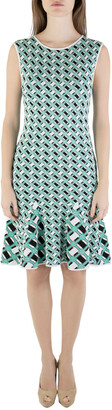 Zac Posen Zac Multicolored Knit Geometric Pattern Godet Dress S