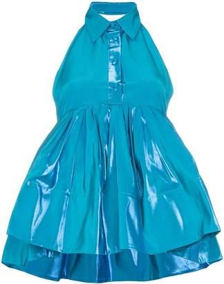 Rosie Assoulin Sleeveless Peplum Silk Cotton Blend Top