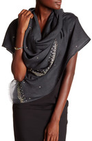 Saachi Gunmetal & Metallic Embellished Jagged Edge Merino Wool Wrap