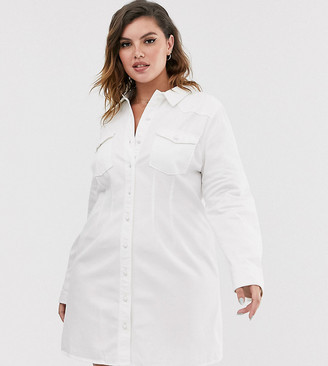 Asos DESIGN Curve denim fitted western shirt dress in white