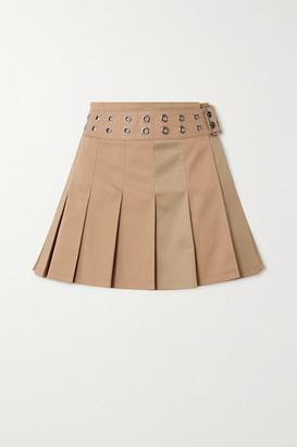 Junya Watanabe Belted Pleated Two-tone Gabardine Mini Skirt - Beige