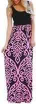 CZ Women Casul Round Neck Sleeveless Floral Printed Slim Fit Long Maxi Dress(, L)