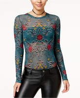 Material Girl Juniors' Printed Mesh Bodysuit, Created for Macy's