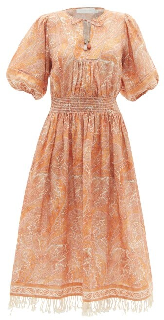 Zimmermann Brighton Paisley-print Linen Dress - Orange Print